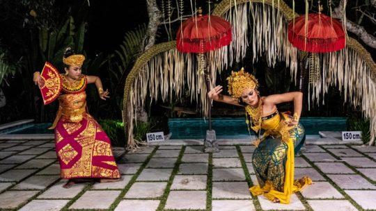 ballerine in rappresentazione con sfondo di ombrellini