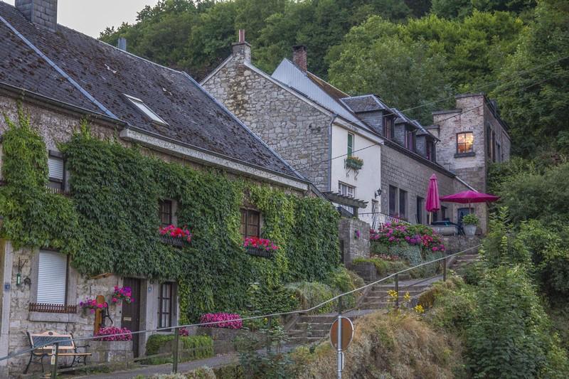 vista sulle case antiche lungo scalinata con edera rampicante e fiori rossi