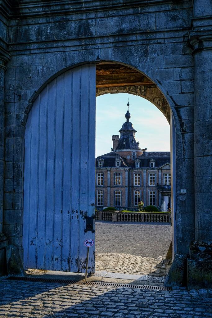 castello visto da un portone antico aperto a metà