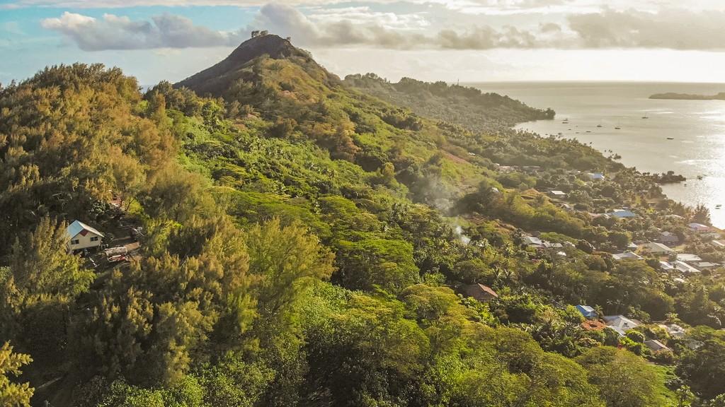 entroterra collinare di un'isola boscosa