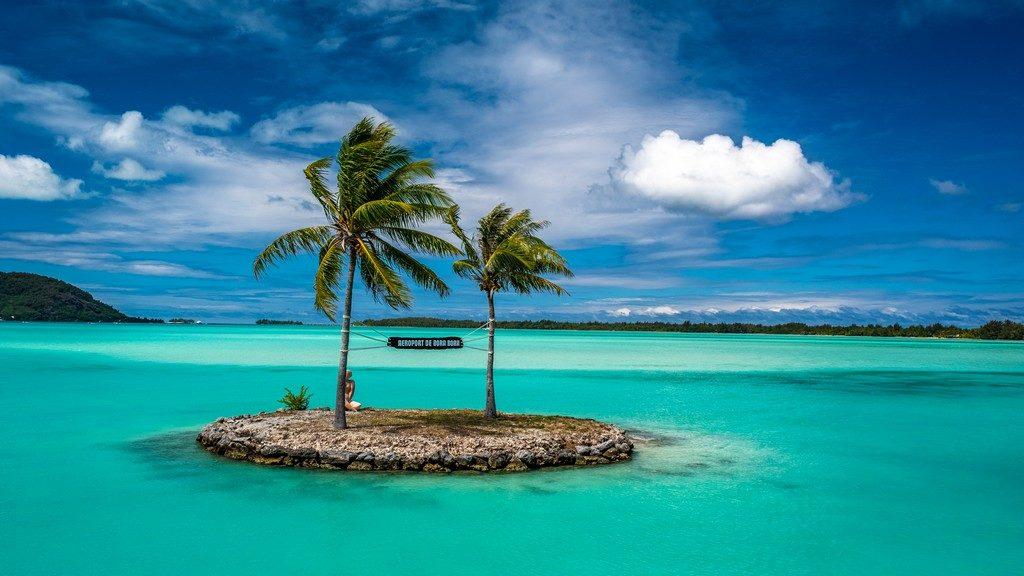 Maldive o Polinesia Francese ingresso aeroporto bora bora isola in laguna