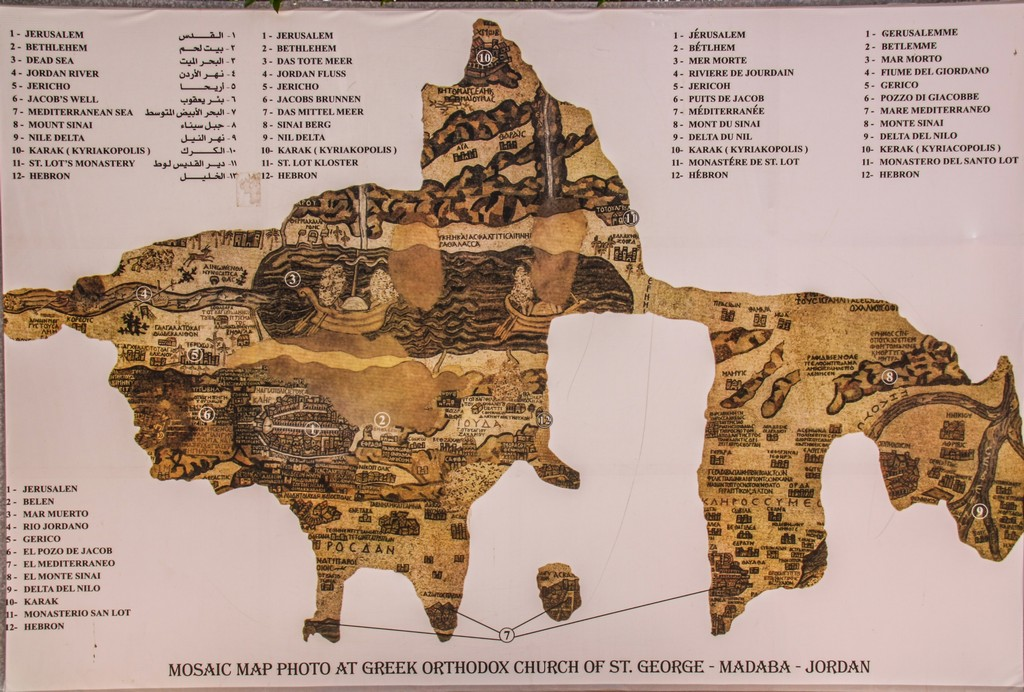 mappa di un mosaico coi luoghi