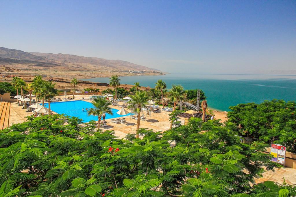 piscina di un resort con vegetazione sulle rive del mar morto