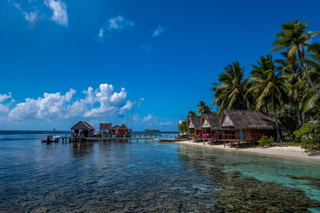 capanne sulla spiaggia e molo con palme
