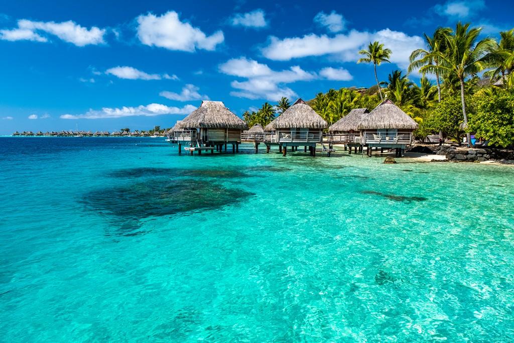 bungalow sulla laguna azzurra e palme
