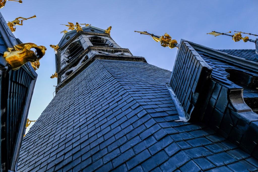 particolare del tetto del beffroi con sculture dorate