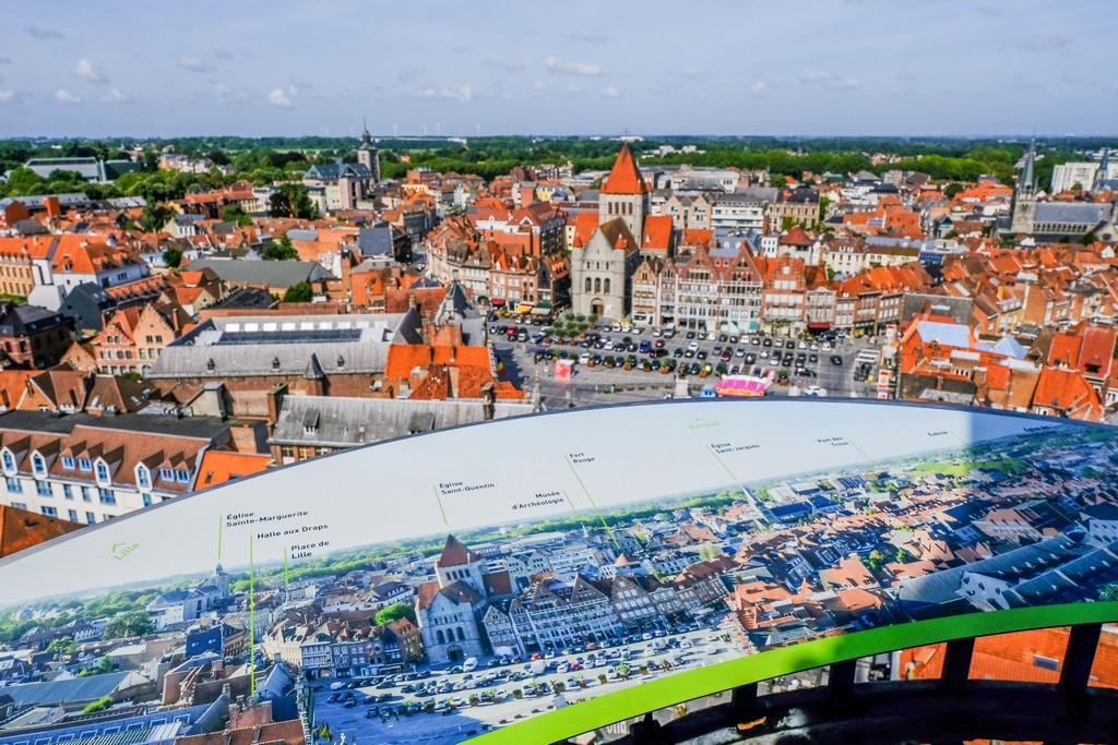 vista della grand place dall'alto con mappa esplicativa