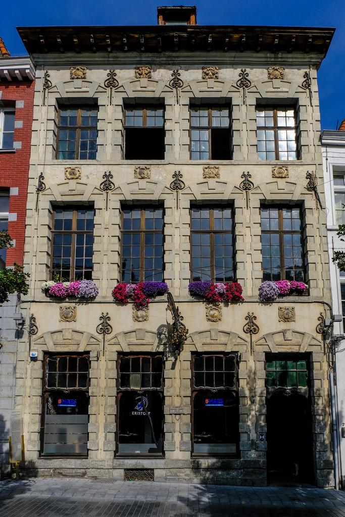facciata della casa antica con vasi di fiori