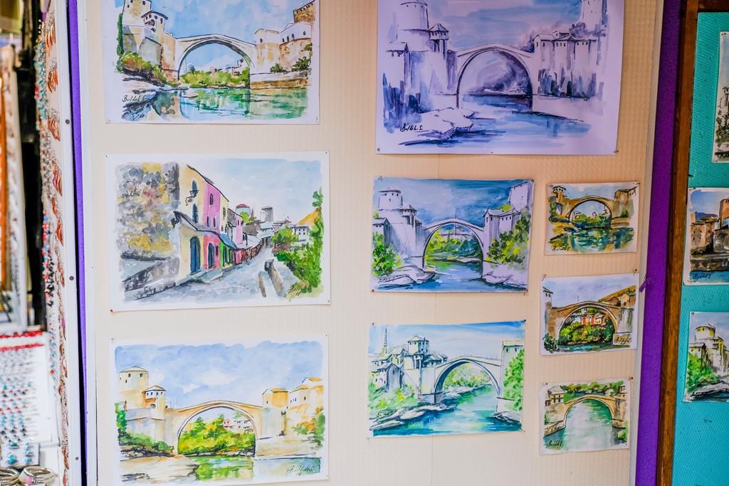 dipinti ad acquerello del ponte vecchio e mostar