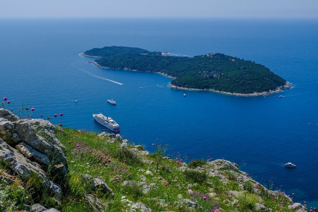 L'isola di Lokrum vista dall'alto del Monte Srd