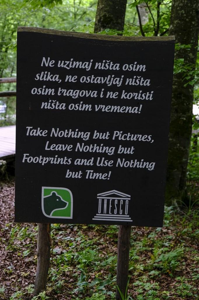 Guida laghi di Plitvice: cartello