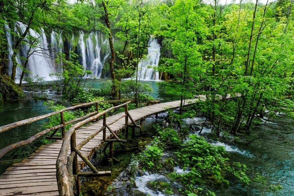 Guida laghi di Plitvice: passerella nel parco con cascata