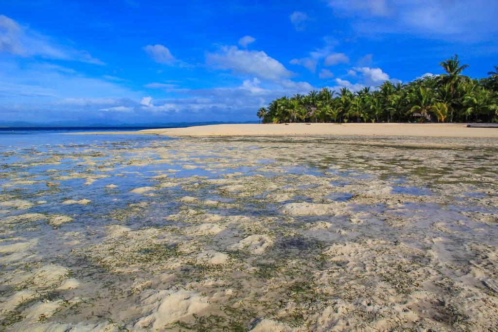 sabbia che emerge dalla bassa marea al largo di un'isola