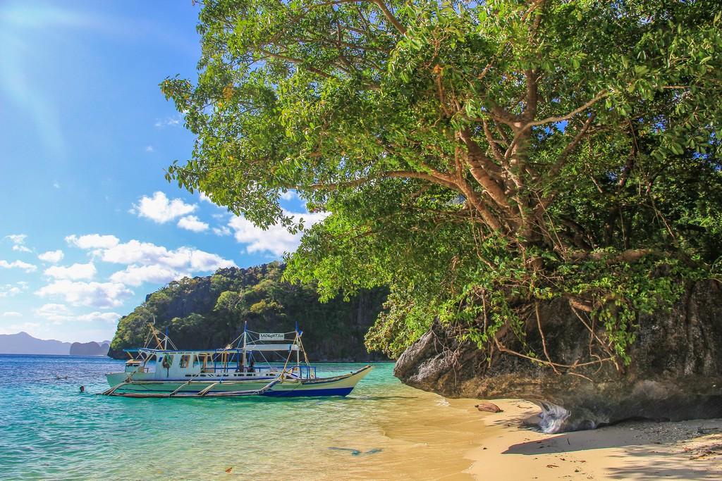 vista di una barca filippina bangka dalla spiaggia con albero