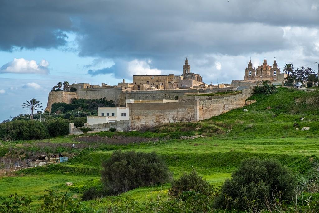 Visita a Mdina mura della città nel verde