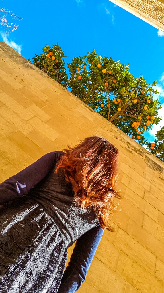 arance sui tetti con persona