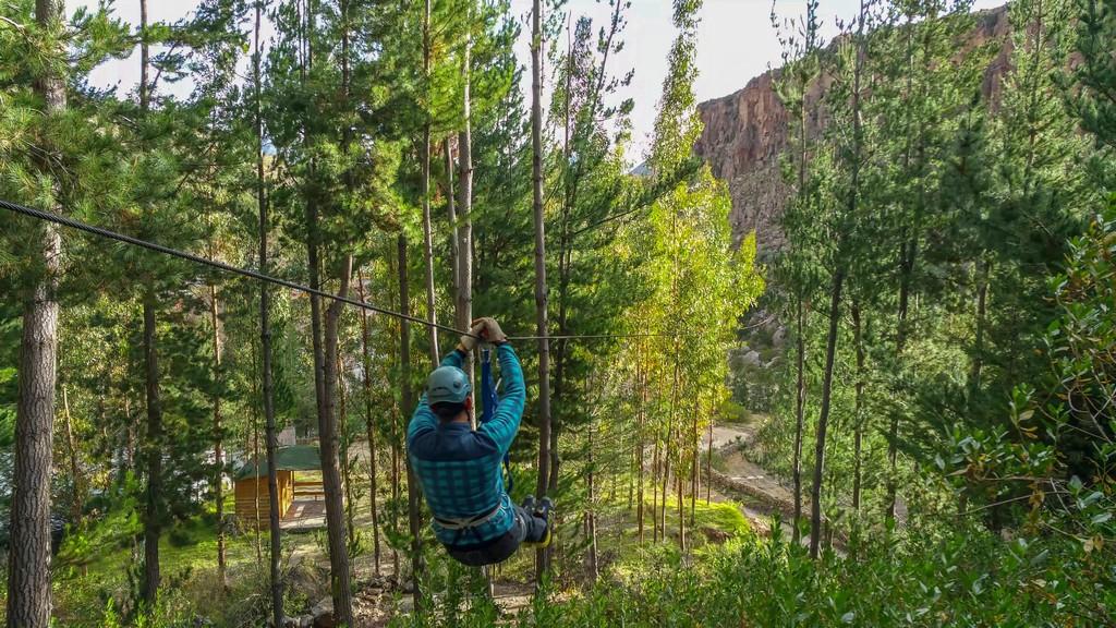 uomo sulla zip line in mezzo agli alberi