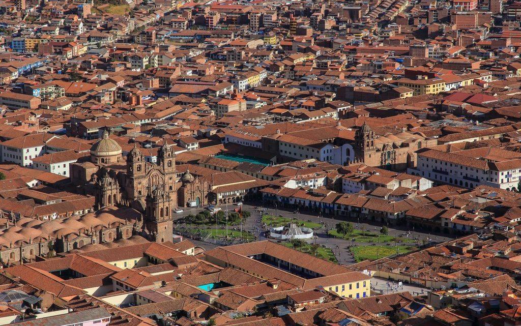 Vista della Plaza de Armas di Cusco dal Cristo Blanco