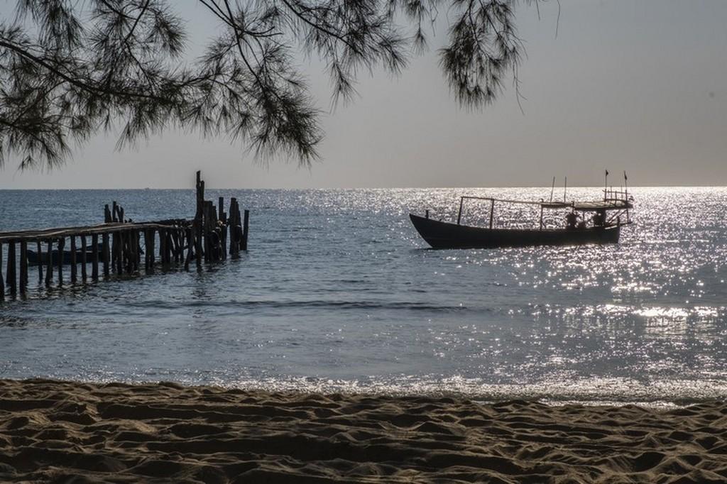 tramonto sul mare con barca e albero