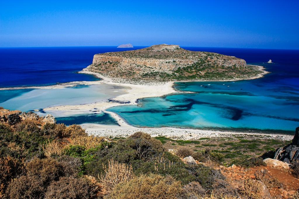 Le migliori spiagge di Creta isola nella laguna al largo