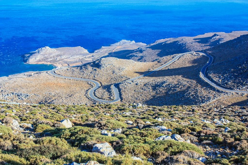 Le migliori spiagge di Creta vista dall'alto della strada