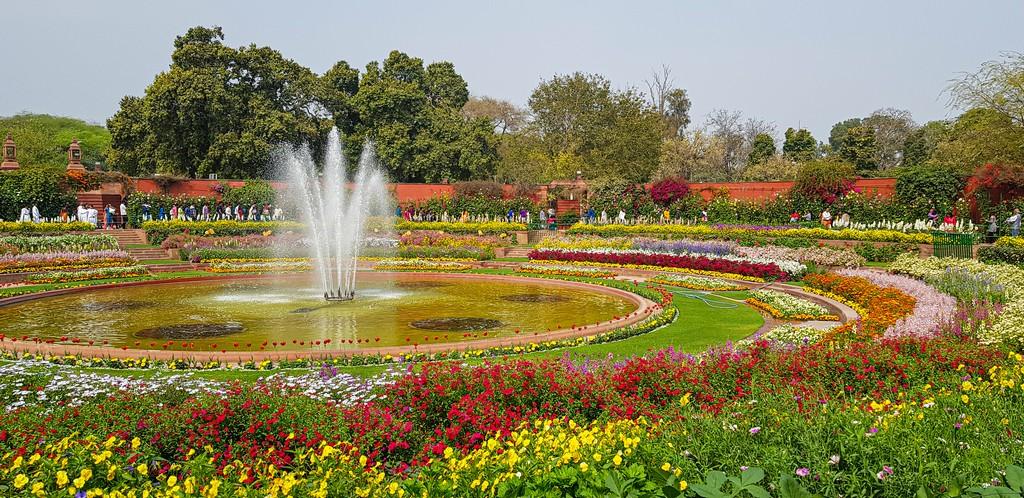 Visitare i Mughal Gardens giardino circolare fiorito