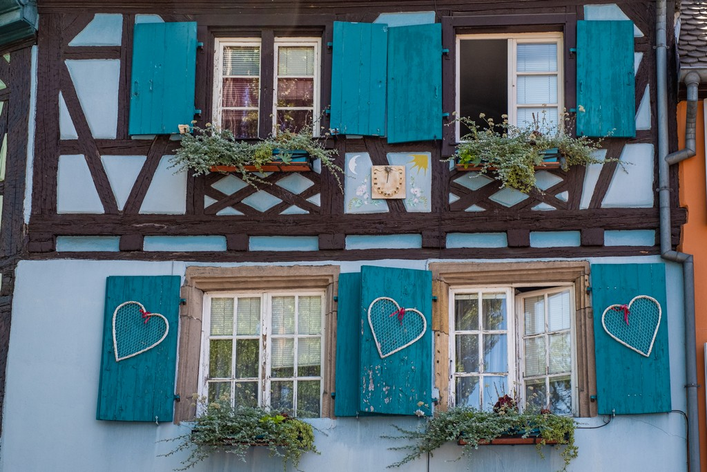 Una giornata a Colmar finestre con fiori